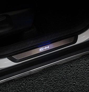 FIT Voor C-HR 2016 2017 2018 LED Instaplijsten Scuff Plate Welkom Pedal Roestvrijstalen Auto Styling Accessoires VOOR CHR