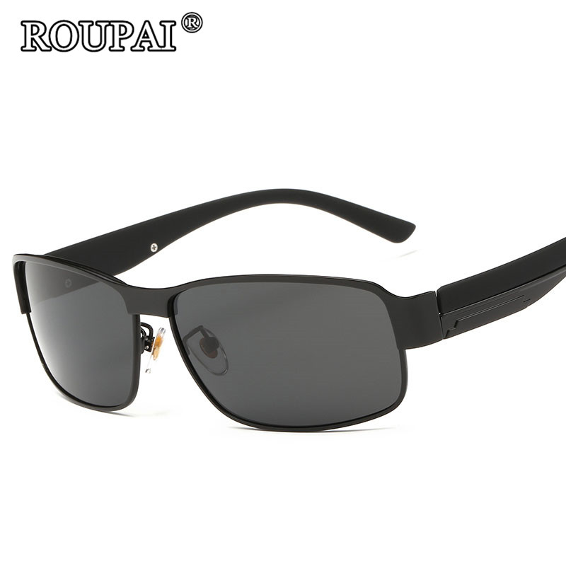 ROUPAI Brand Sun Glasses For Men Driving Glasses Vintage Male Polarized Sunglasses Coating Mirror oculos aviadores masculino
