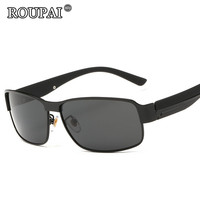 ROUPAI Brand Sun Glasses For Men Driving Glasses Vintage Male Polarized Sunglasses Coating Mirror Oculos Aviadores