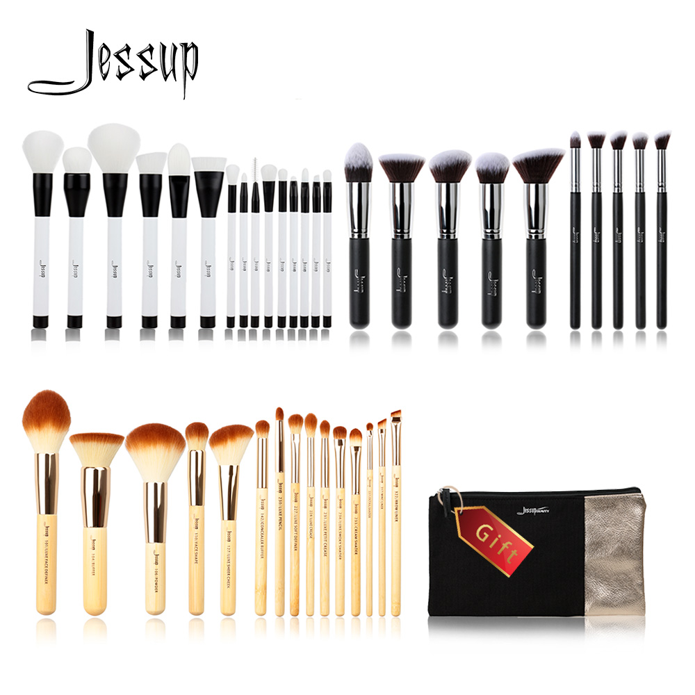 Jessup Buy 3 get 1 gift Makeup Brushes set Beauty Make up Liquid Kabuki Powder Foundation Eyeshadow Eyeliner Lip cosmetic bag free shipping 3 pp eyeliner liquid empty pipe pointed thin liquid eyeliner colour makeup tools lfrosted purple