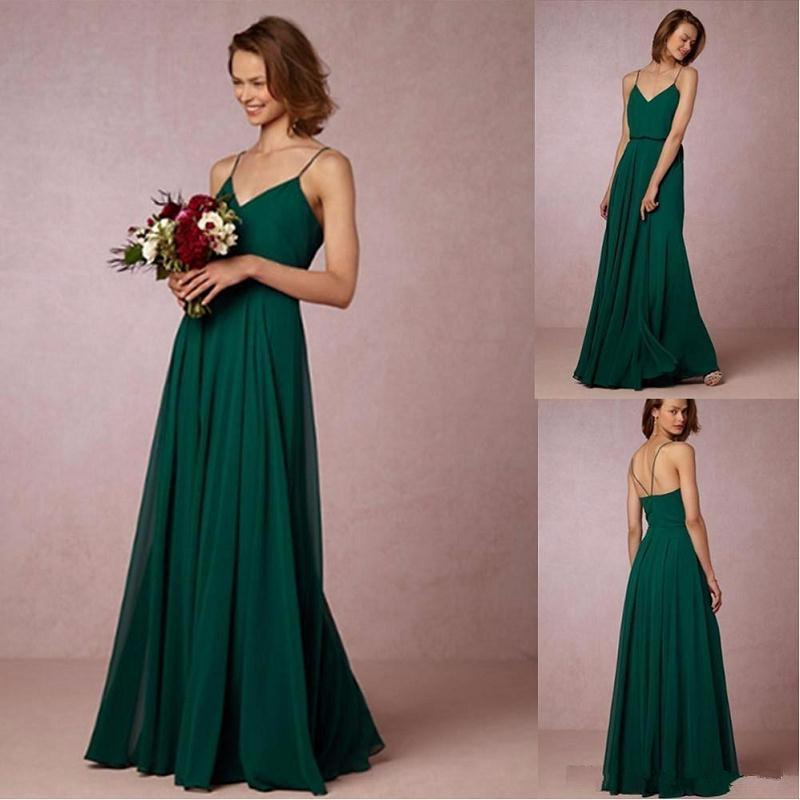 2017 De Color Verde Oscuro De Gasa Vestidos De Dama De Honor