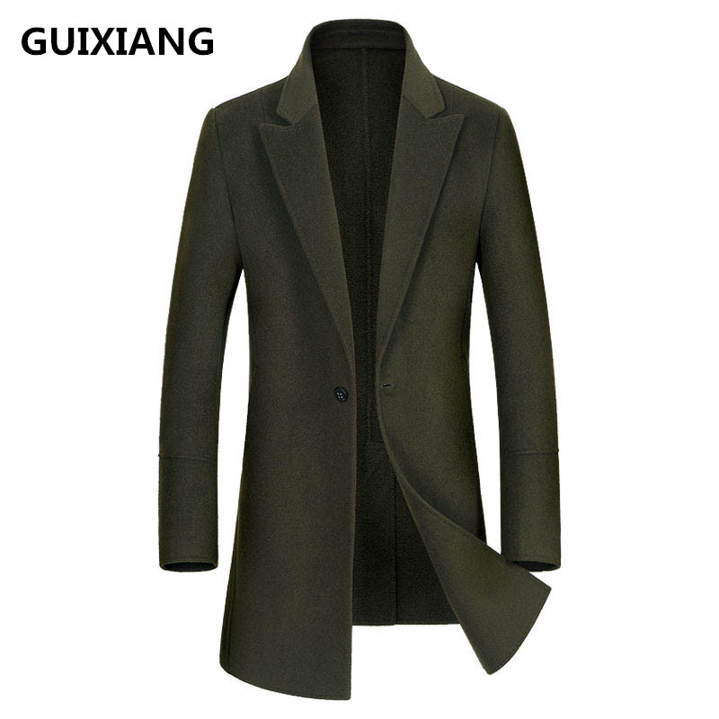 GUIXIANG 2017 Men's fashion double-faced woolen trench coat jacket Men's casual woolen trench coat jackets wool men windbreak