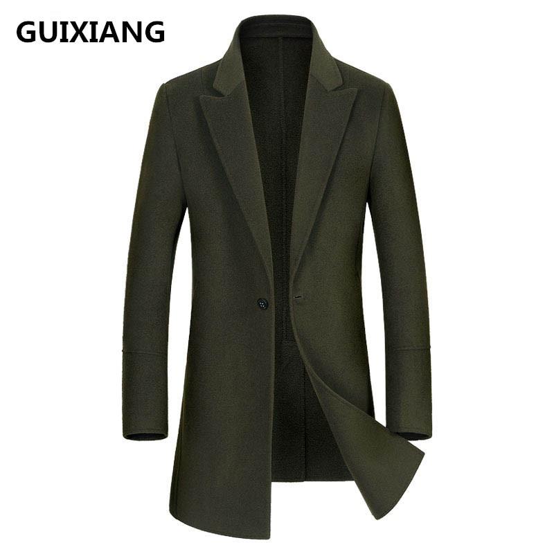 GUIXIANG 2017 Men's fashion double-faced woolen   trench   coat jacket Men's casual woolen   trench   coat jackets wool men windbreak
