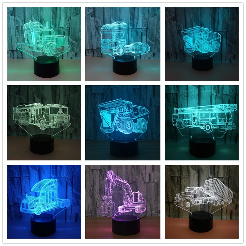 Excavator Giant Usb Led 3D Light Shovel Tractor Cement Mixer Hoisting 3d Visual Illusion Lamp Vehicle Truck Kids Night Light