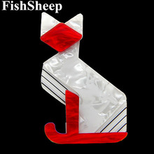 FishSheep 2018 Fashion Acrylic Large Cat Brooches For Women Latest Animal Resin Big Cats Brooch And Pins Female Accessory Gift fishsheep large women figure acrylic brooches and pins fashion resin girl icon big brooch pins female fashion jewelry accessory