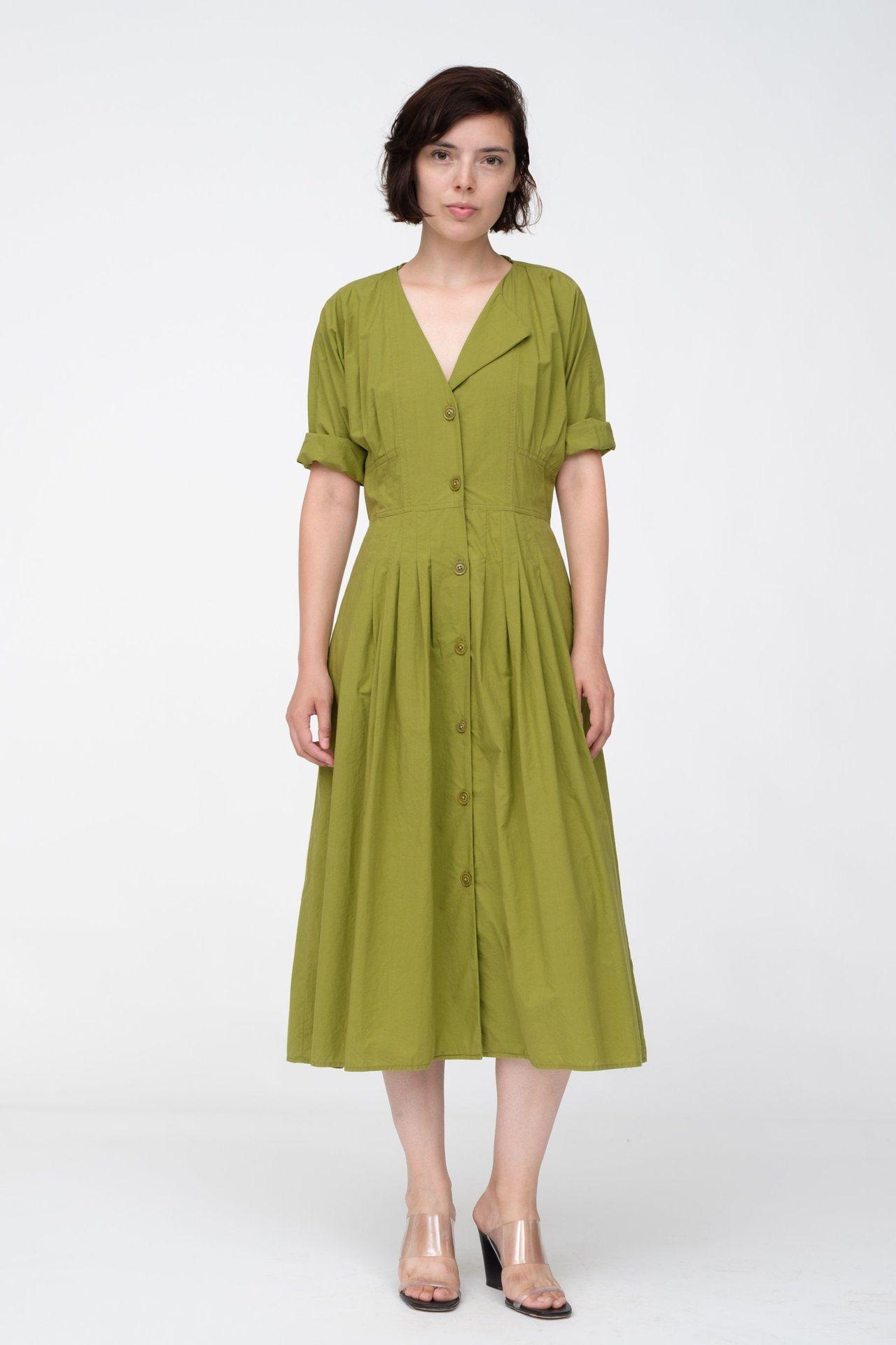 Women Dress 2019 New Retro Mustard Green Solid Color Dress ...