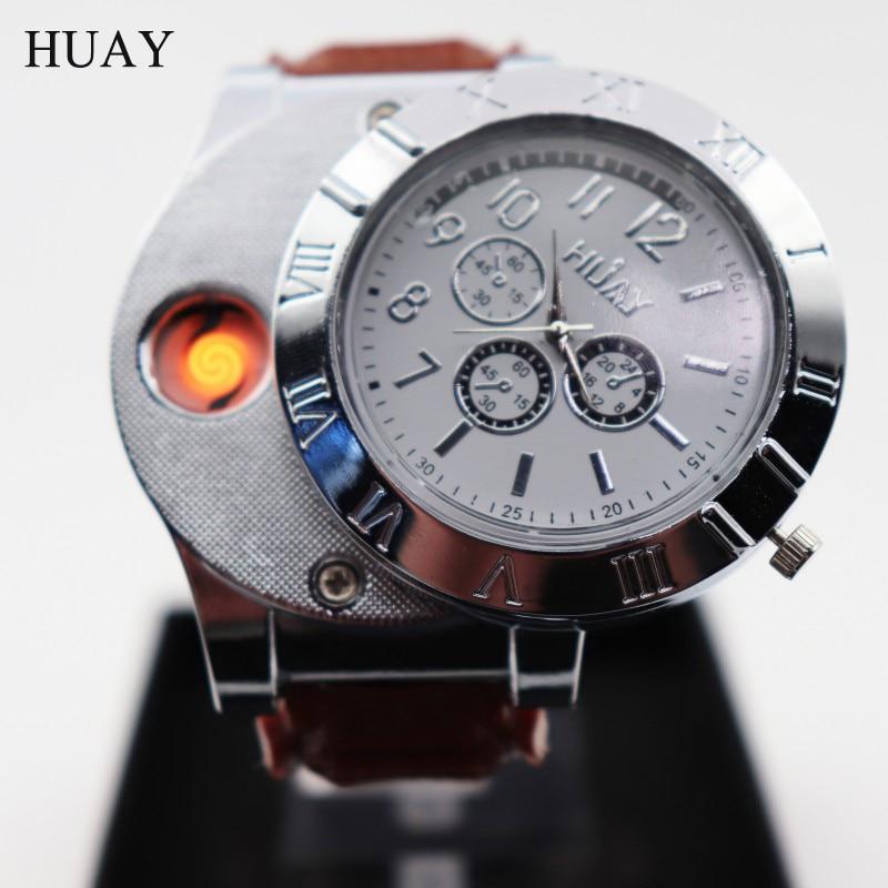 Men Quartz Watches Lighter Hot F665 Men Cool Wristwatches USB Charging Military Sports Watches Men Cigarette Lighter Clock