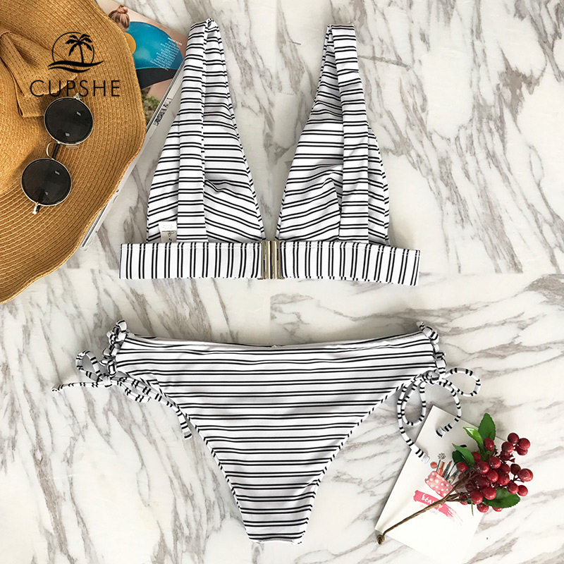 CUPSHE Out Of The Ordinary Stripe Bikini Set Women Sexy Back Hook Thong Two Pieces Swimsuit 2020 Beach Bathing Suit swimwear 2