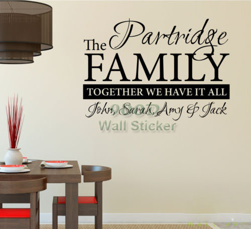 Personalized family name wall sticker, home decoration quote wall ...