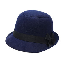 Women Girl Retro Bowknot Beach Felt Wool Fedora Hats Bowler Hiking Caps Hats Drop Shipping