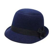 Women Girl Retro Bowknot Beach Felt Wool Fedora Hats Bowler Hiking Caps Hats Drop Shipping