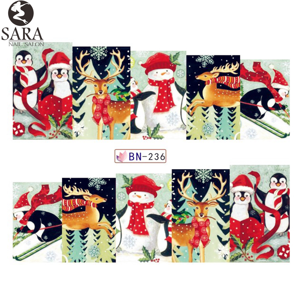 Nail Salon 1pcs Watermark Stickers DIY Nail Decals Water Transfer Snowman Elk Cartoon Christmas Designs Manicure SABN229-240 стоимость