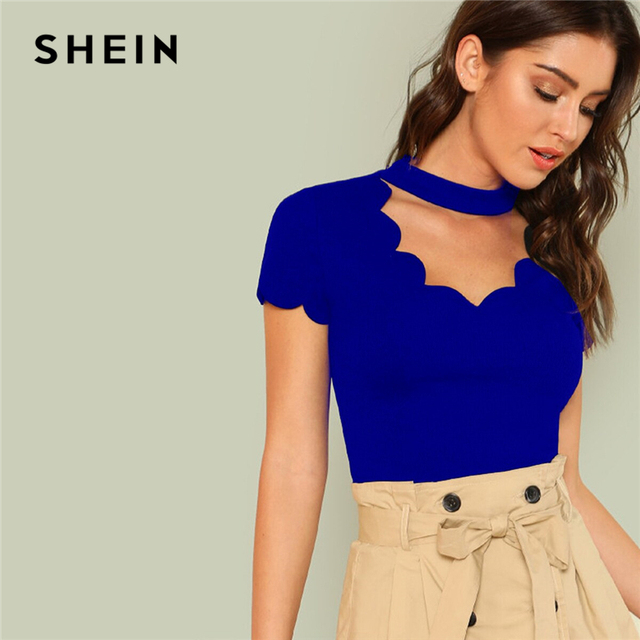 SHEIN Elegant Mock Neck Scallop Trim Cut Out V Collar Short Sleeve Solid Tee Summer Women Weekend Casual T-shirt Top 2