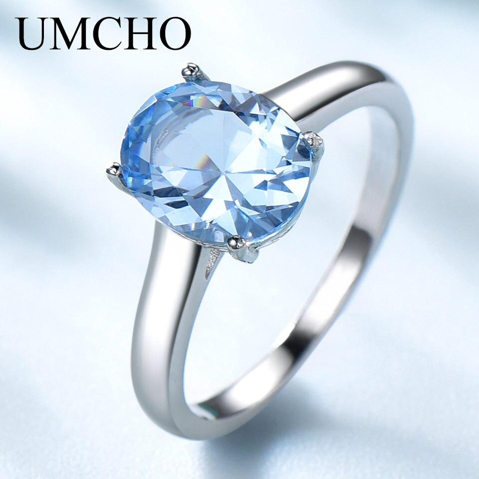 Ensembles de bijoux de mariage en topaze bleu ciel UMCHO pour femmes 925 bagues de fiançailles en argent Sterling collier pendentif Clip boucles d'oreilles - 5