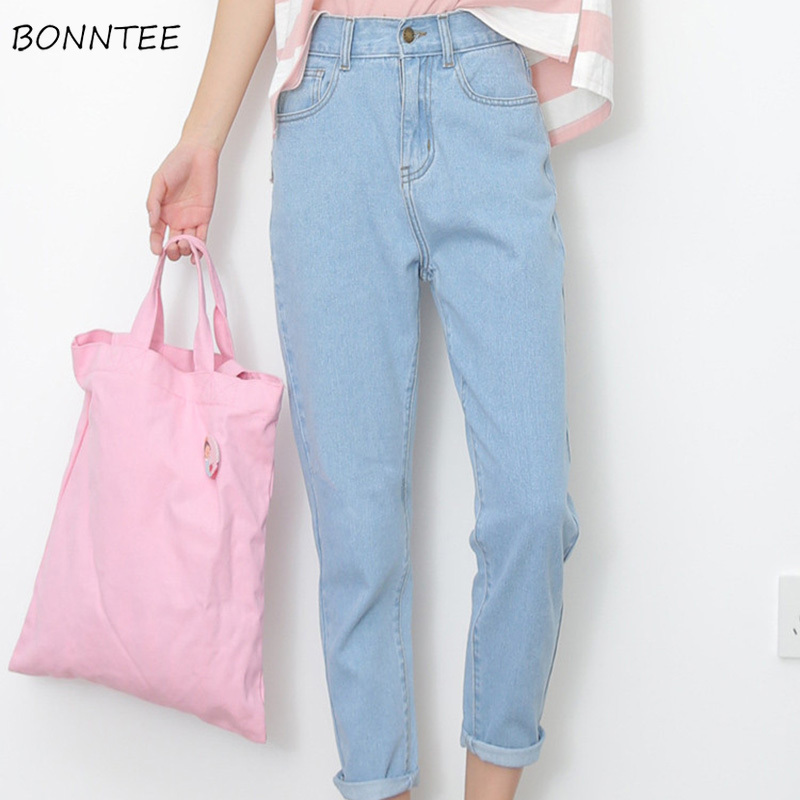 Jeans Women Button Pockets Denim Pencil Pant Womens Loose Leisure Solid Simple All-match Spring Bottoms Chic Korean Style Female