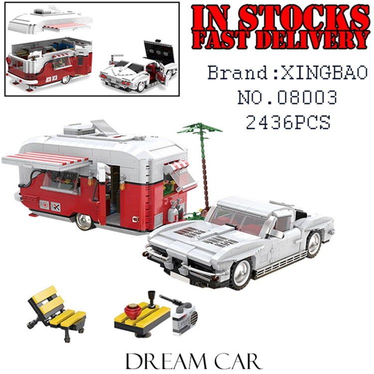XingBao 08003 2436Pcs New Creative Series The MOC Camper Set Children Educational Building Blocks Bricks Toys Model Boys Gifts xingbao 01001 creative chinese style the chinese silk and satin store 2787pcs set educational building blocks bricks toys model