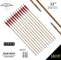 LongbowMaker 12PK Traditional Handmade Feathers Hunting Bamboo Arrows Broadheads Ali Bow Archery Fletching