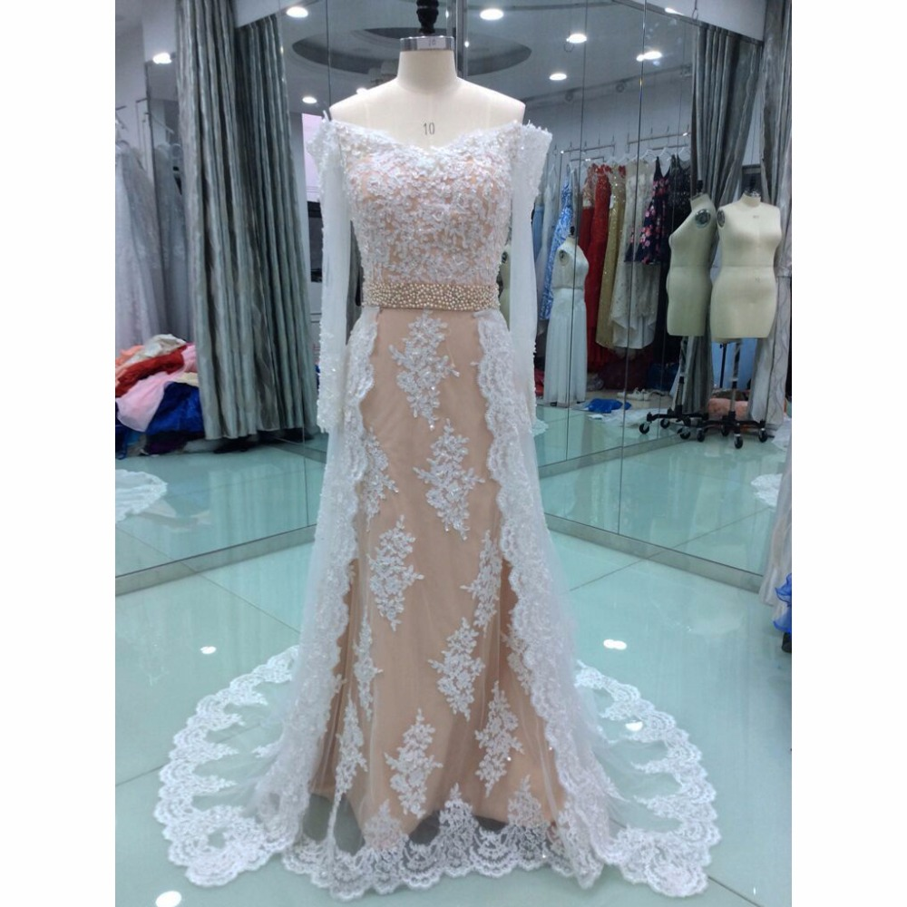Elegant Lace   Evening     Dresses   Long 2018 New A Line Off Shoulder Beaded Long Sleeves Floor Length Arabic Formal   Evening   Party Gown
