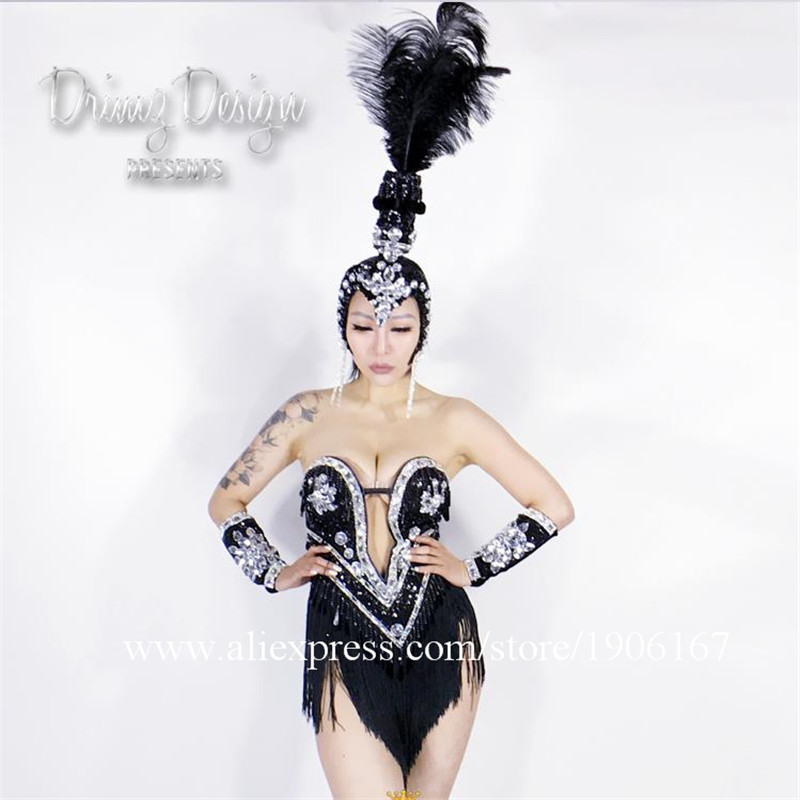 DJ Singer Suit Headwear Performance Sexy Girl Stage DJ Dancer Shows Ballrooom Coverall Costume Headwear Clothes Free Shipping