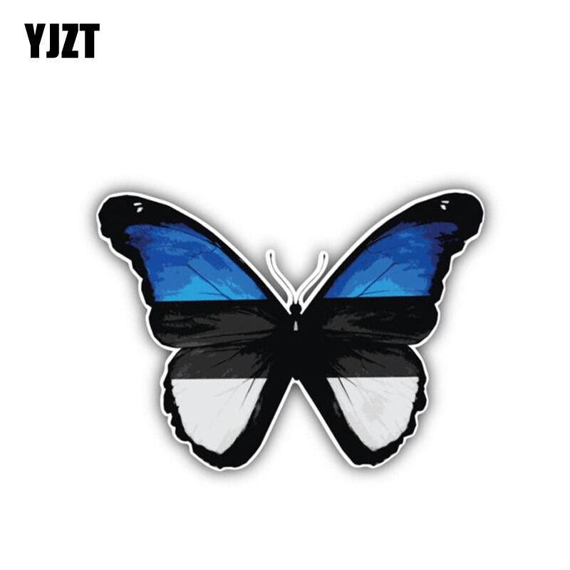 YJZT 13.5CM*9.7CM Car Styling Estonia Flag Butterfly Decal Cartoon Car Sticker 6-1384