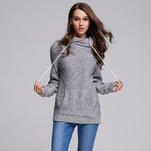Autumn& Winter Sweater Women Grey Pullover Female Warm Knitted jumpers Sweater With Pocket