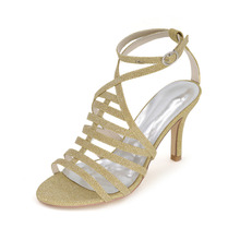 Sexy thin band sparkling glitter bling bling lady sandals 8.5cm heel summer shoes special style gold silver black blue red
