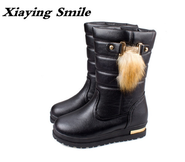 Women Fashion Winter Flat Snow Boots Half Warm Boots With Buckle Strap