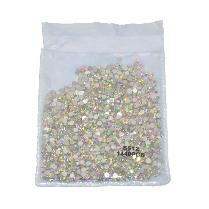 1440 шт Плоские с оборота кристаллы для ногтей Стразы для ногтей 3D дизайн ногтей украшения SS3-SS12 DIY стеклянные драгоценные камни AB прозрачный розовое золото