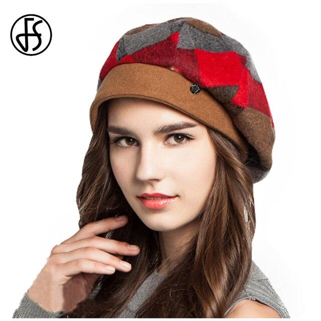 FS invierno fieltro de lana Plaid rojo sombrero de la Boina naranja mujer  boinas verdes chicas e16070f493e
