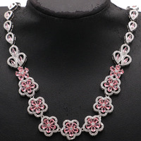 Fancy Flowers Shape Pink Morganite White CZ 925 Silver Necklace 16.5 17.5 inch 22x14 mm
