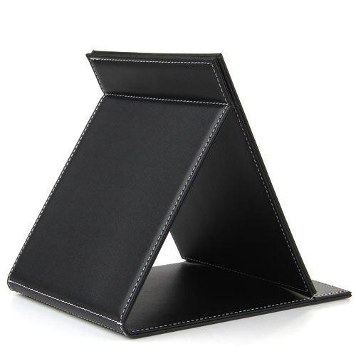 """JEYL Preto Folding Mesa de Couro Mão Maquiagem Compact Espelho 9.1x7.1"""""""