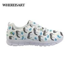 WHEREISART Hot Sale Zebra Shoes Woman Breathable Mesh Female Walking Sneakers Lightweight Ladies White Platform Scarpe Donna
