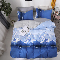 Bonenjoy Blue Bed Linen Set Chinese Style Duvet Cover Flat Sheet Pillowcase Single Bedclothes Set Double Bedding Set Cotton