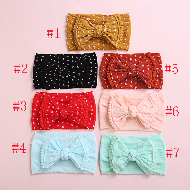 Bulk 24pc/lot 2019 New Nylon Hair Bands Baby Girls PomPom Headbands Top Knot Elastic Turban Hairband Baby Girls Head Wrap