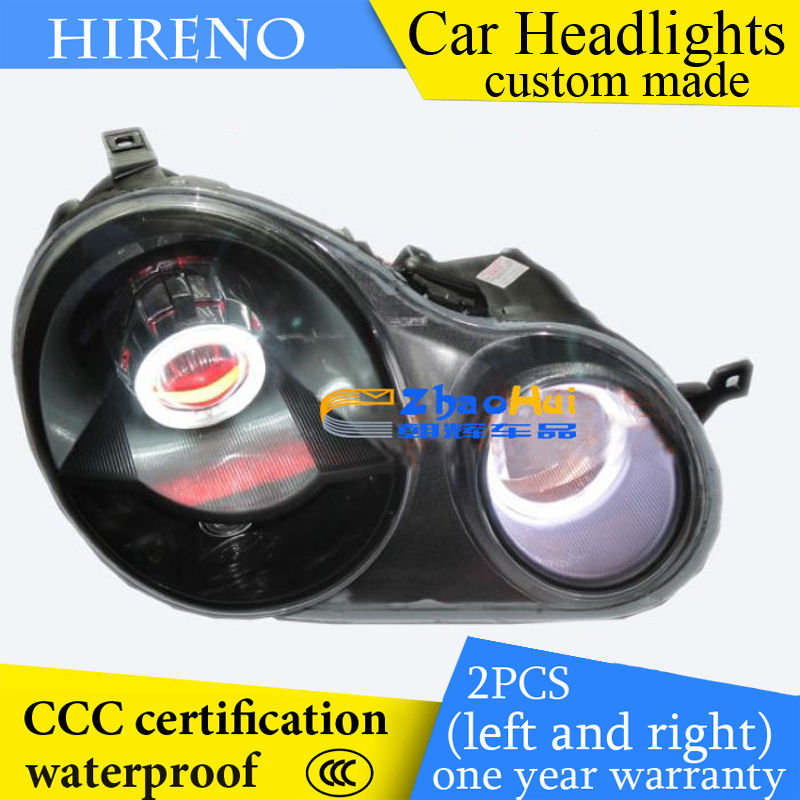 Hireno custom Modified Headlamp for Volkswagen polo 2002-10 Headlight Assembly Car styling Angel Lens Beam HID Xenon 2 pcs hireno car styling headlamp for 1998 2002 bmw e38 728 730 735 740 750 headlight assembly led drl angel lens double beam hid xen