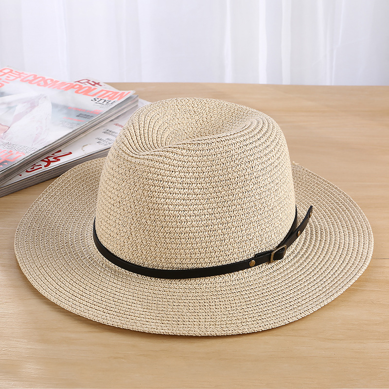 Classic Women Men Summer Toquilla Straw Sun Hat for Elegant Lady Wide Brim Homburg Fedora Sunbonnet Beach Cap