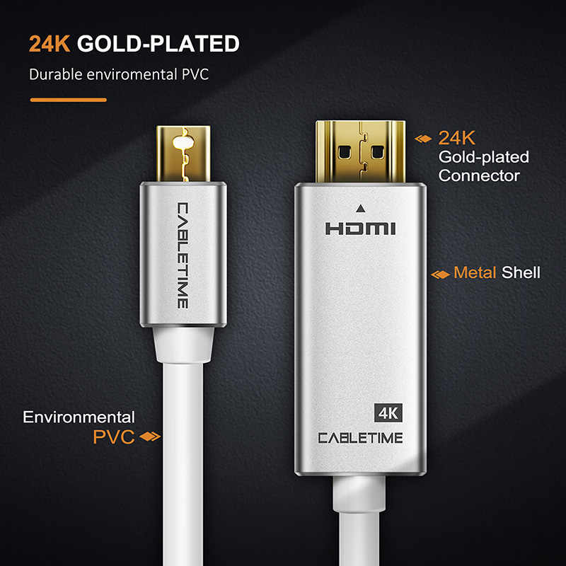 كابينة صغيرة Thunderbolt ديسبلايبورت كابل وصلة بينية مُتعددة الوسائط وعالية الوضوح 4K DP إلى HDMI DP كابل ل 1080P TV لينوفو كمبيوتر ماك بوك كاميرا C089