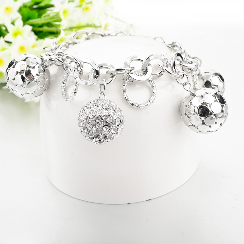 LongWay Strand Bracelet Silver Color Gold Color Bracelets with Hollow Ball Crystal For Women Bracelet Accessories SBR160023103 10