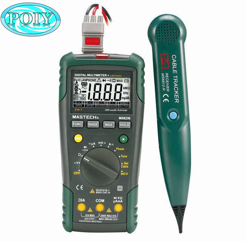 MASTECH MS8236 Auto Range Digital Multimeter LAN Tester Net Cable Tracker Tone Telephone line Check Non