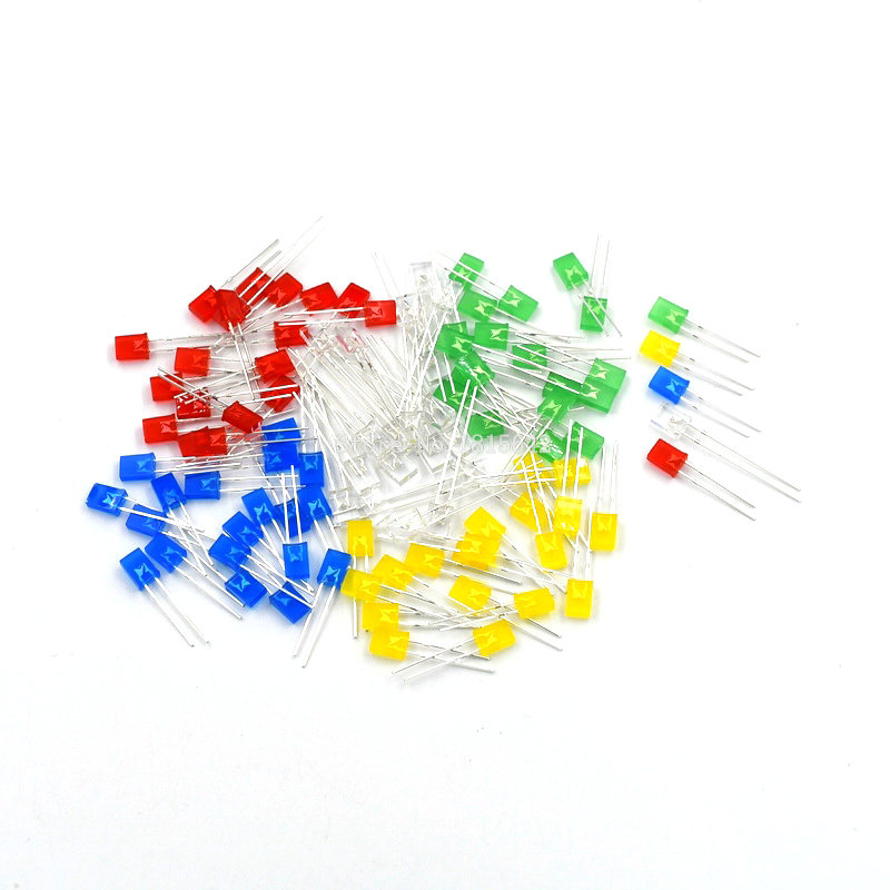 100pcs Rectangular Square LED Emitting Diodes Light Bulbs Yellow//Red//Blue//Gre Np