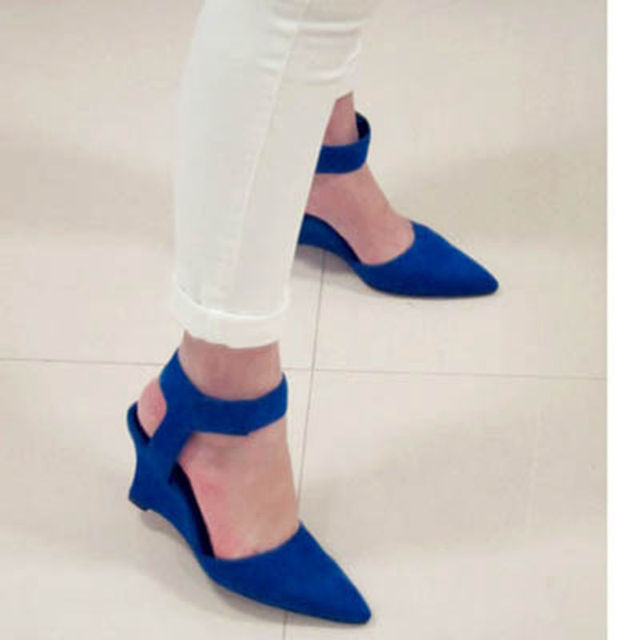 Women Wedges Fashion Ankle Hook & Loop Pointed Toe Pumps Sexy Sandal High Heels Black Blue Orange White Women Shoes 2016 Summer