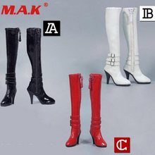 1/6 scale red/black/white high tube zipper female high heels leather boots shoes toy for 12