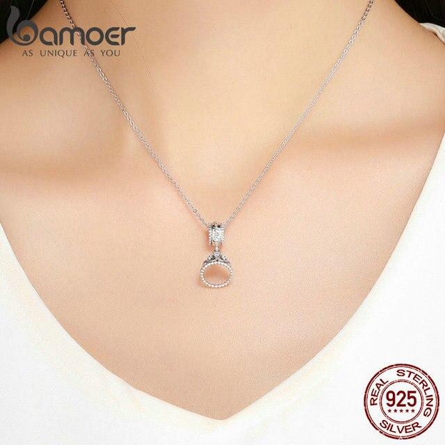 BAMOER 100% 925 en argent Sterling à la mode princesse couronne pendentif breloque Bracelet à breloques et collier bijoux petite amie cadeau SCC739