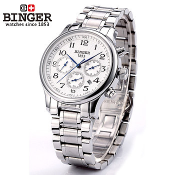 New Binger Mechanical stop watch Color Silver Stainless steel Wristwatches fashion automatic handmade self wind month watches original binger mans automatic mechanical wrist watch date display watch self wind steel with gold wheel watches new luxury