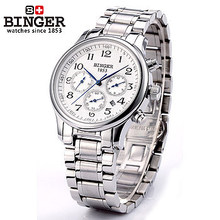 New Binger Mechanical stop watch Color Silver Stainless steel Wristwatches fashion automatic handmade self wind month watches