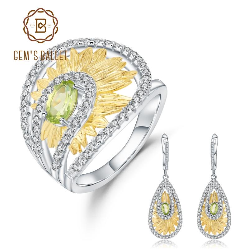 GEM S BALLET 925 Sterling Silver Handmade Ring Earrings Sets 1 89Ct Natural Peridot Gemstone Sunflower