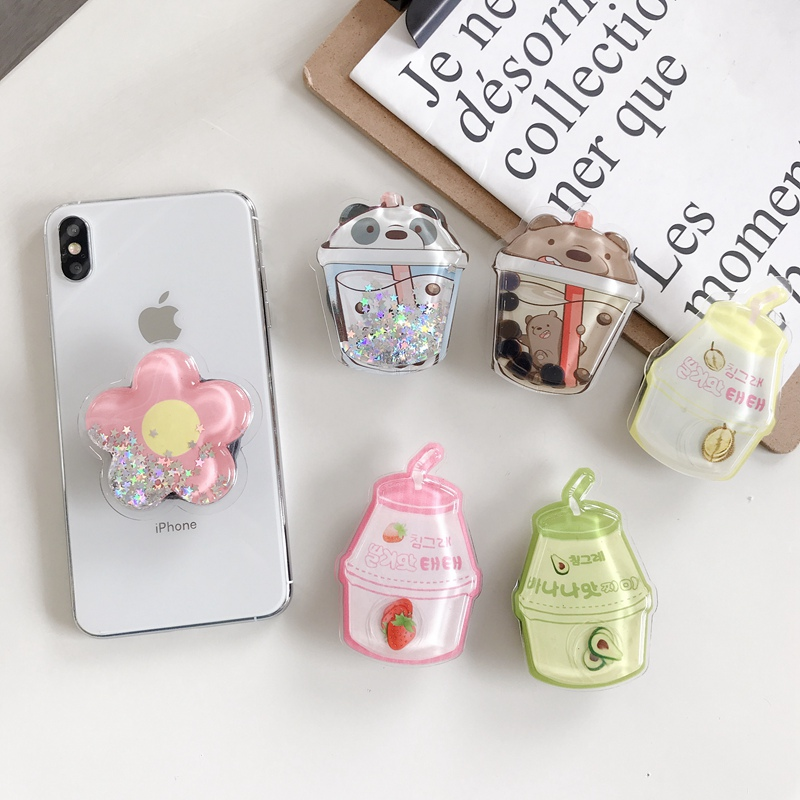 Squishy Cartoon Quicksand Liquid Lovely Kids Phone Holder Portable Bracket Adjustable Folding Stander for iPhone Xiaomi Huawei(China)