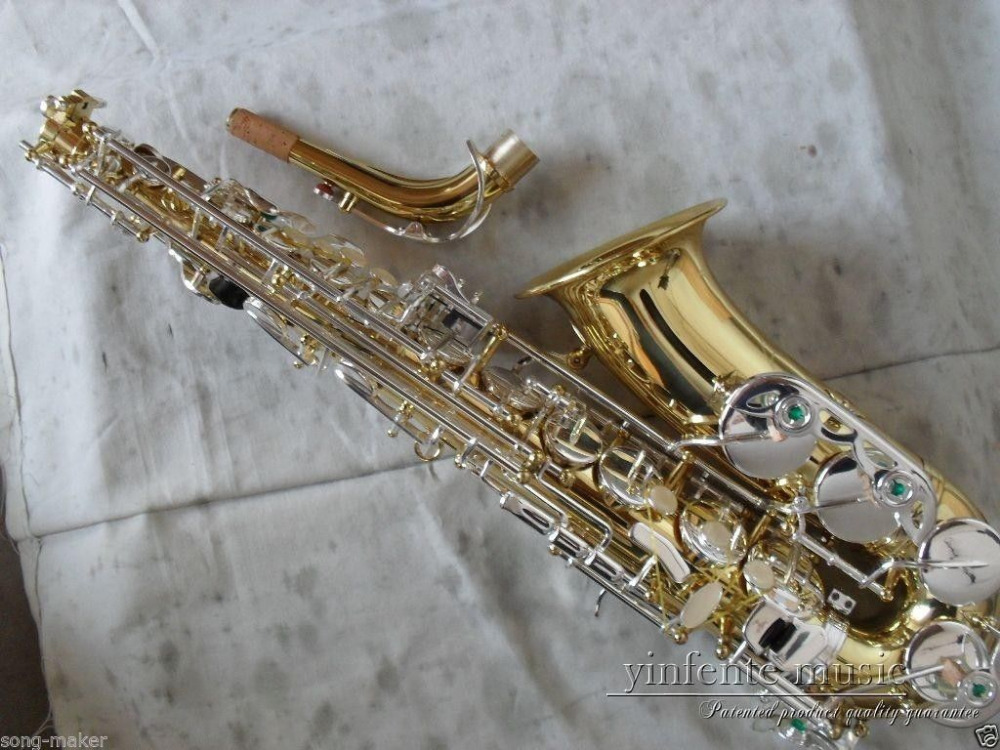 new brass alto sax saxophone golden plated silver plated key low price new in saxophone from. Black Bedroom Furniture Sets. Home Design Ideas