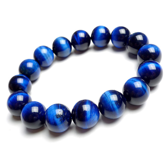 Wholesale 14mm Natural Genuine Blue Tiger's Eyes Gem Stone Stretch Bracelets For Women Men Powerful Charm Round Bead Bracelet