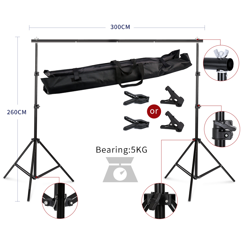2.6MX3M Backdrops Frame Background Support System Photography Studio Background Holder Camera & Photo Accessories + Carry Bag allenjoy easter basket butterfly photography backdrops spring photography background photo studio background